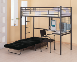 Coaster Furniture 2209 - Workstation Loft Bed (High Gloss Black)
