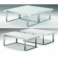 Coffee Table Franze High Gloss White 2PC With Brushed Stainless Steel
