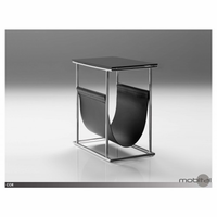 Cor Magazine Rack Stainless Steel, Black Leather, Matte Black Glass Top