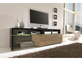 Creative Furniture Amsterdam CS11340 Black L-shape Top and Walnut Base TV Stand