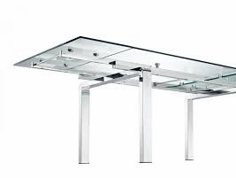 CREATIVE STARK Extendable Dining Table CLEAR GLASS