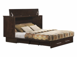 Creden-ZzZ Cabinet Bed in Coffee Finish, Queen