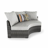 Ashley Furniture Curved Corner Chair with Cushion, Gray