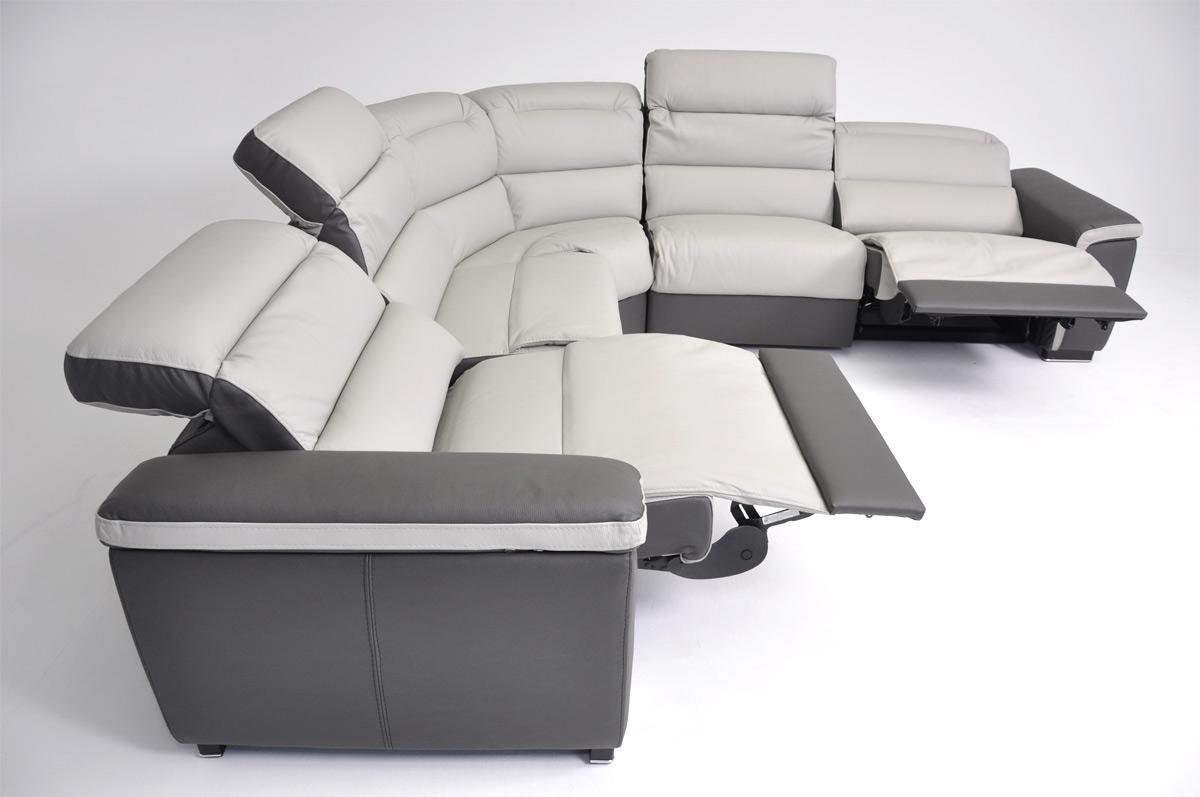 Dima Caracas Full Top Grain Italian Leather Sofa Set with Electronic Recliners