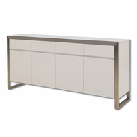 Dining Buffet Moda 4-Doors Hg White With Brushed Stainless Steel
