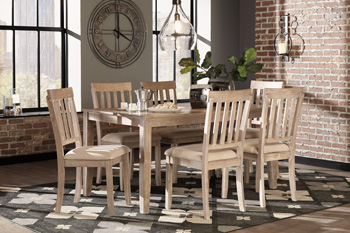 Ashley Furniture Dining Room Table Set (7/CN), White Wash Gray