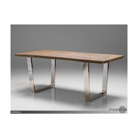 Dining Table Bordeaux Reclaimed Solid Wood Top-St Steel Legs