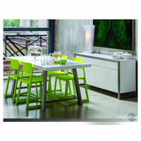 Dining Table Palco Hg White With Brushed Stainless Steel