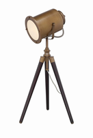 Director's Table Lamp, Brass Finish/wood Legs, E27 Cfl 23w