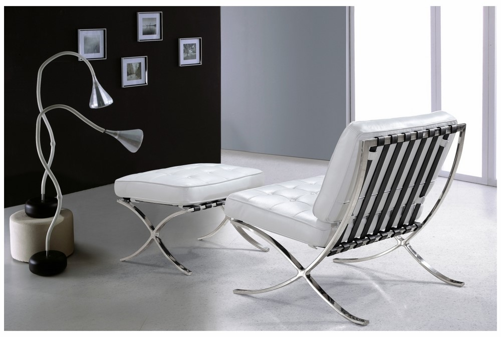 Modern lounge set single choice of fabric white with black