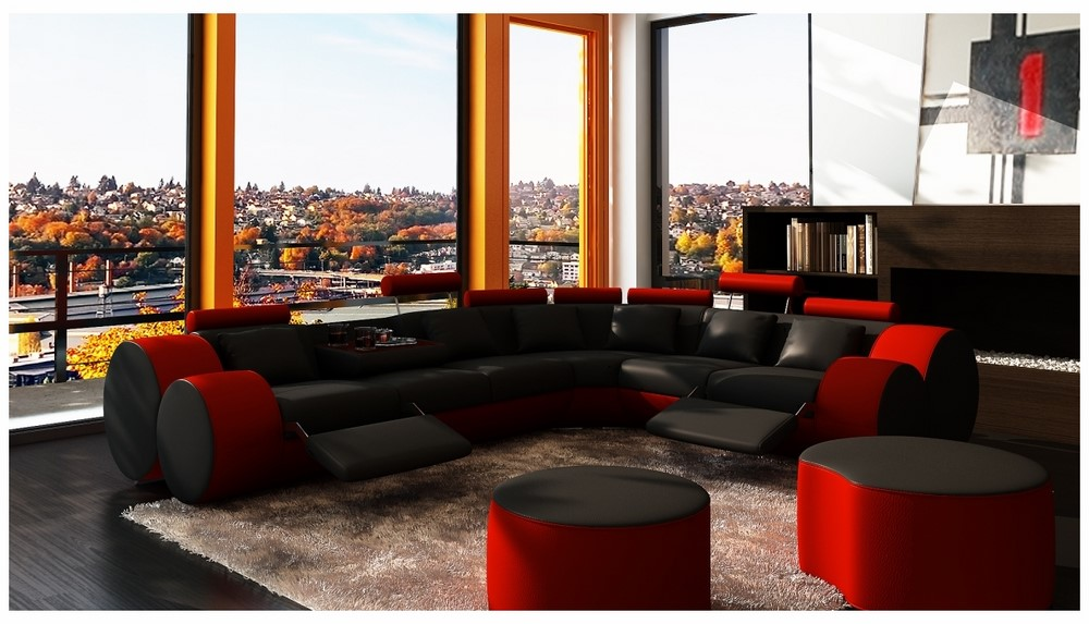 Divani Casa 3087 Modern Black And Red Bonded Leather Sectional Sofa Coffee Table