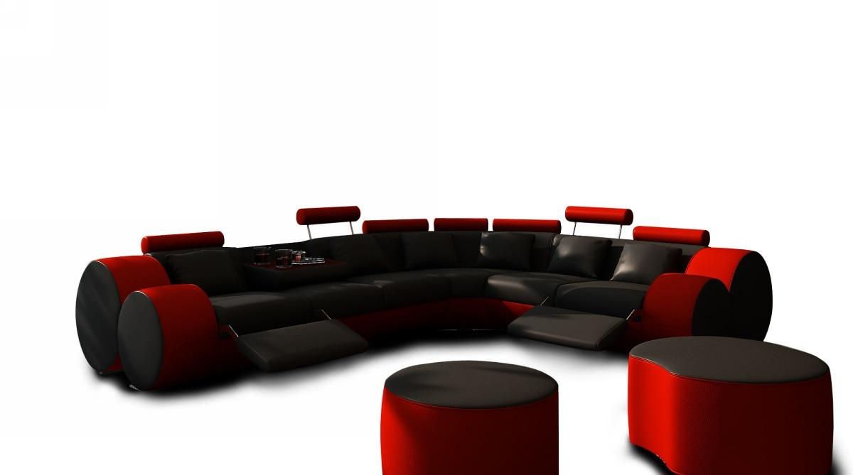 Divani Casa 3087 Modern Black And Red Leather Sectional