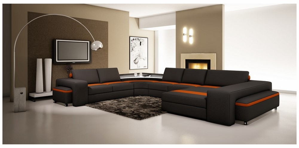 Divani Casa 5030 Modern Black and Orange Bonded Leather ...