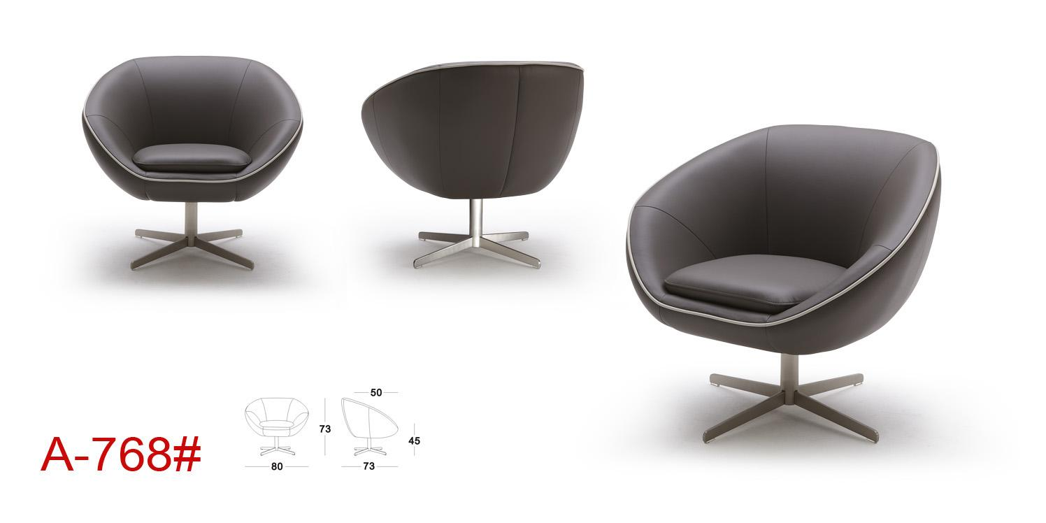 Divani casa a768 modern leather swivel lounge chair for Contemporary leather lounge chairs