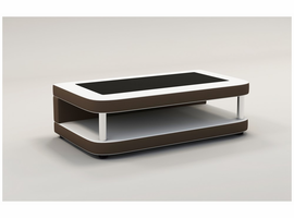 Divani Casa EV24 Modern White & Brown Bonded Leather Coffee Table