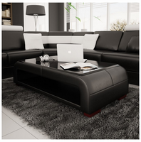 Divani Casa EV30 Modern Black Bonded Leather Coffee Table w/ Glass Top