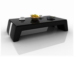 Divani Casa EV33 Modern Black and White Bonded Leather Coffee Table w/ Glass Top