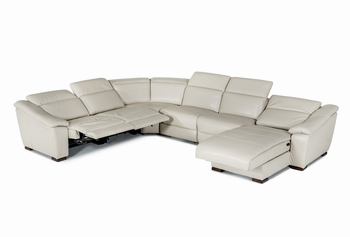Divani Casa Jasper Modern Light Grey Leather Sectional Sofa