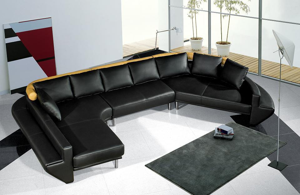 divani casa mars ultra modern black leather sectional sofa jupiter like. beautiful ideas. Home Design Ideas