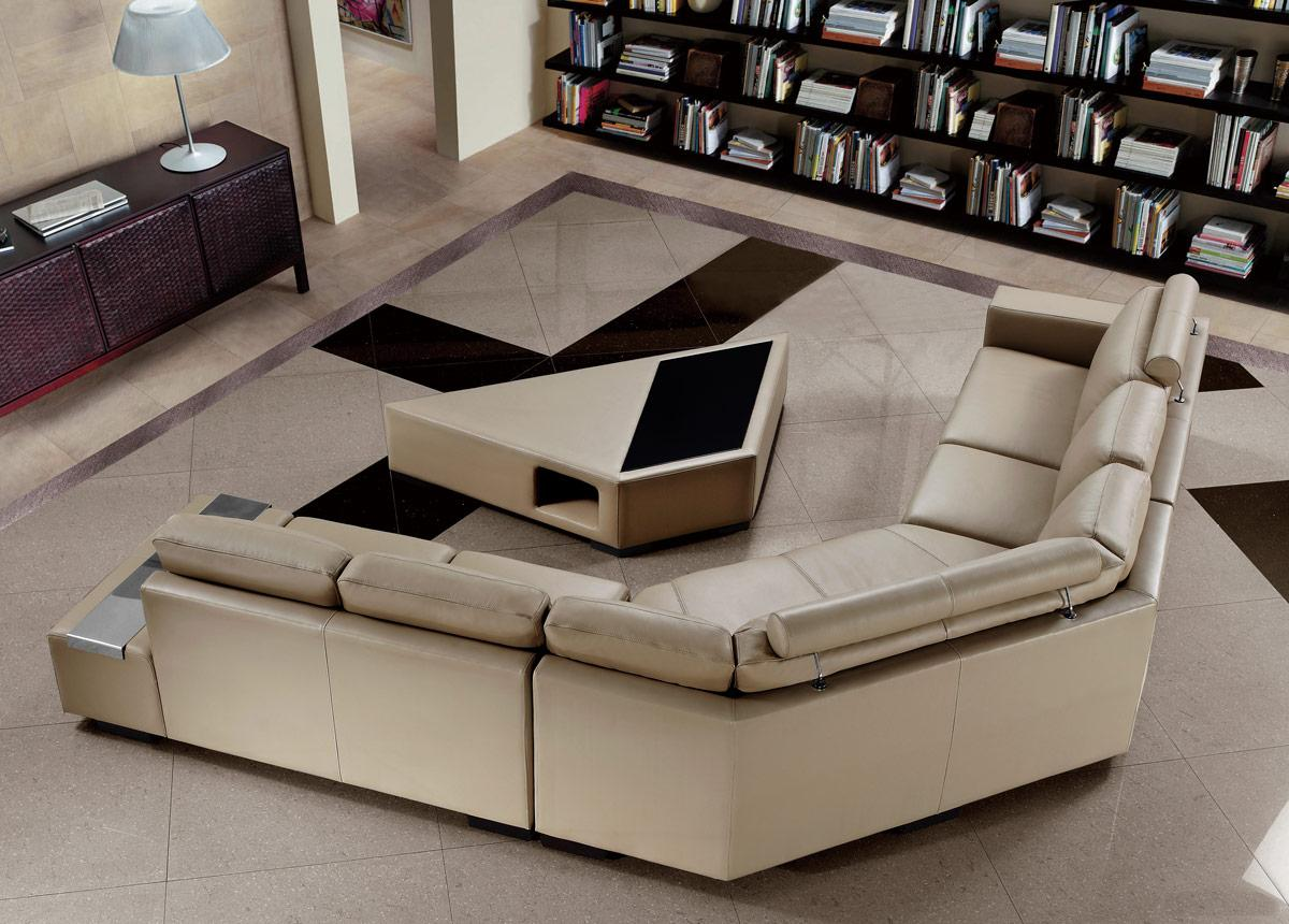 Casa tera beige leather sectional sofa with coffee table divani casa tera beige leather sectional sofa with coffee table geotapseo Images
