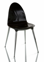 Doimo Loto Laquered Black Side Chair with Crome Legs