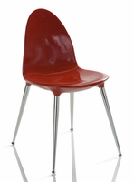 Doimo Loto Laquered Red Side Chair with Crome Legs