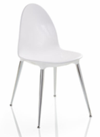 Doimo Loto Laquered White Side Chair with Crome Legs