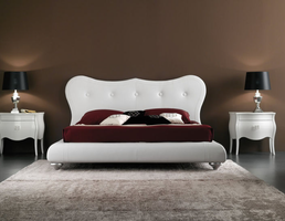 Doimo Victoria Leather White High Gloss Queen Bed