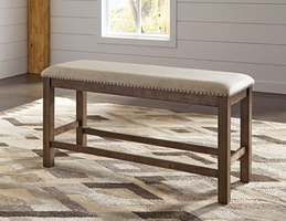 Ashley Express Furniture Double Upholstered Bench (1/CN), Beige