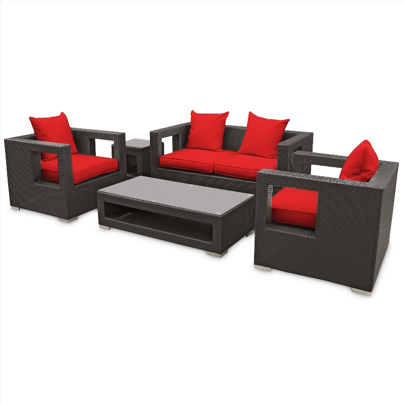 Modway Furniture Lunar Outdoor Wicker Patio 5 Piece Sofa Set