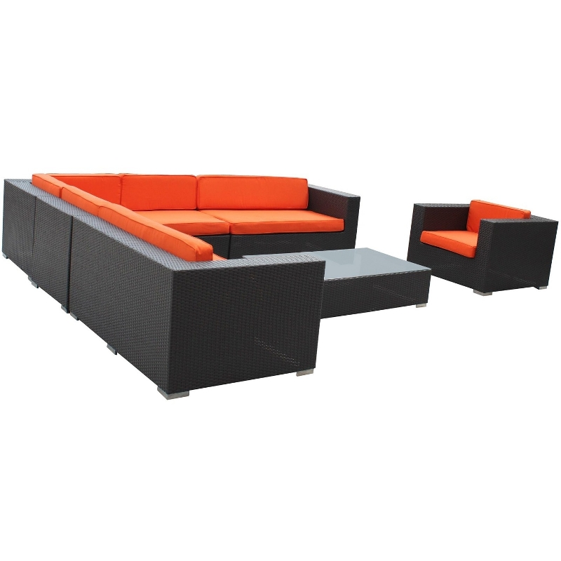 Modway Furniture Palm Springs Outdoor Wicker Patio 7 Piece Sectional Sofa  Set