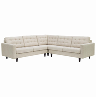 Empress 3 Piece Upholstered Fabric Sectional Sofa Set, Beige [FREE SHIPPING]
