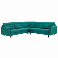 Empress 3 Piece Upholstered Fabric Sectional Sofa Set, Teal [FREE SHIPPING]