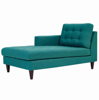 Empress Left-Arm Upholstered Fabric Chaise, Teal [FREE SHIPPING]