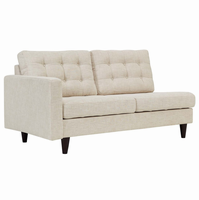 Empress Left-Facing Upholstered Fabric Loveseat, Beige [FREE SHIPPING]