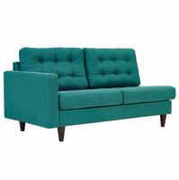 Empress Left-Facing Upholstered Fabric Loveseat, Teal [FREE SHIPPING]