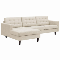 Empress Left-Facing Upholstered Sectional Sofa, Beige [FREE SHIPPING]