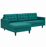 Empress Left-Facing Upholstered Sectional Sofa, Teal [FREE SHIPPING]