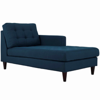Empress Right-Arm Upholstered Fabric Chaise, Azure [FREE SHIPPING]