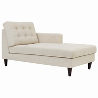 Empress Right-Arm Upholstered Fabric Chaise, Beige [FREE SHIPPING]