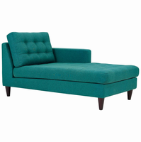 Empress Right-Arm Upholstered Fabric Chaise, Teal [FREE SHIPPING]