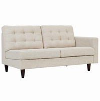 Empress Right-Facing Upholstered Fabric Loveseat, Beige [FREE SHIPPING]