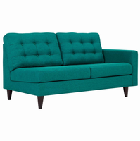 Empress Right-Facing Upholstered Fabric Loveseat, Teal [FREE SHIPPING]