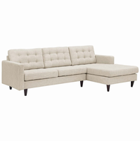 Empress Right-Facing Upholstered Sectional Sofa, Beige [FREE SHIPPING]