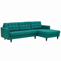 Empress Right-Facing Upholstered Sectional Sofa, Teal [FREE SHIPPING]
