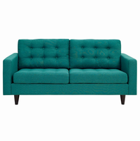 Empress Upholstered Loveseat, Teal [FREE SHIPPING]