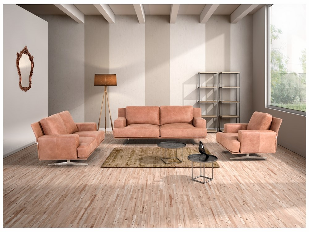 Magnificent Estro Salotti Foster Modern Cognac Italian Leather Sofa Set Pabps2019 Chair Design Images Pabps2019Com