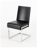 Etch - Modern Dark Oak and Black Leatherette Dining Chair (Set of 2)