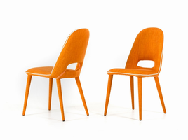 Eugene - Modern Orange Fabric Dining Chair (Set of 2)