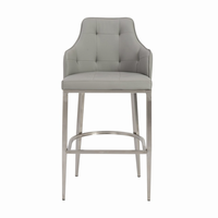Euro Style Aaron Bar Stool in Gray With Brushed Stainless Steel Legs